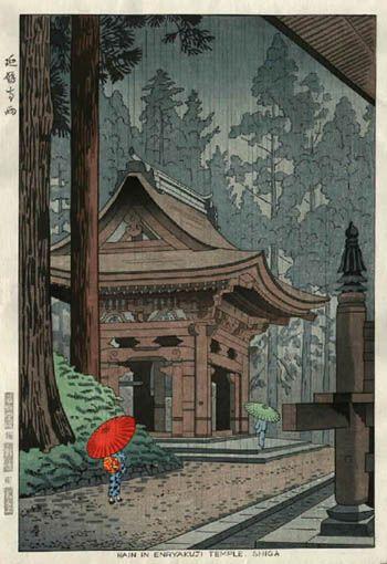 Rain at Enryakuji Temple, Shiga  by Takeji Asano, 1953