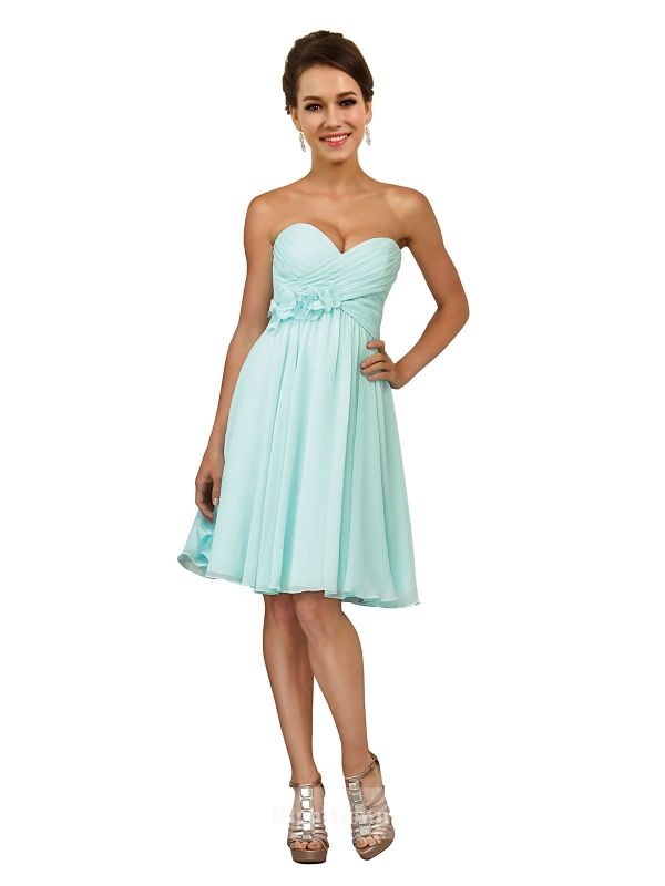 Cheap Right Gowns 2018 Most Chic Style Sweetheart Short Knee Length Chiffon Turquoise Strapless Bridesmaid Dresses 172030, Right Bridesmaid Dresses, Cheap Bridesmaid Dresses and Buy Discount Bridesmaid Dresses2018