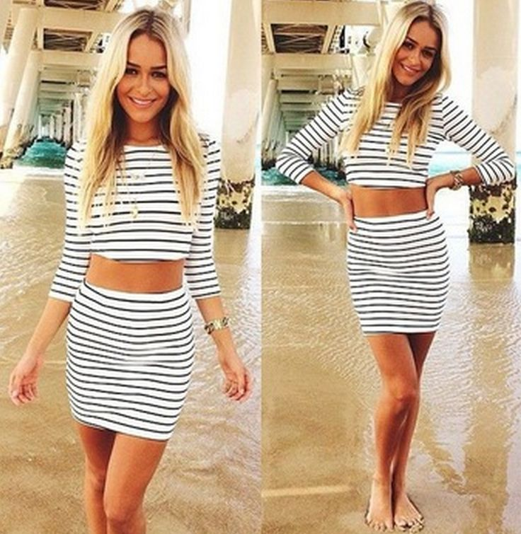 Hot Sale Women Sexy Bodycon Striped Bandage Crop Tops and Short Mini Skirt 2 Piece Clothing Set Girls Clothes - STYLANDO