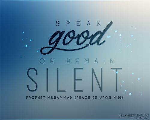 "The Prophet (SalAllahu Alaihi wasallam) said: ""He who believes in Allah and the Last Day must either speak good or remain silent."" - Sahih Muslim [by islamreflection.tumblr.com]"