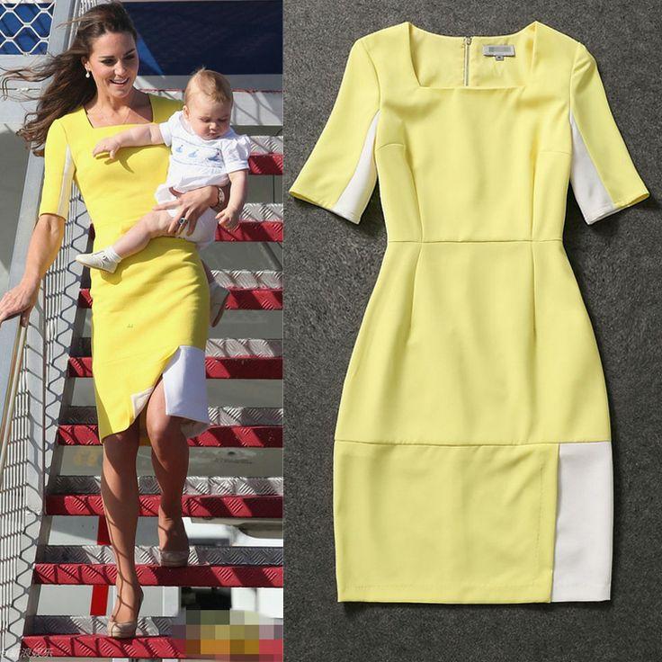 celebridade 2014 sexy princesa kate middleton marca de malha curto- manga slim mini inglaterra bloco de cor praça collar vestidos 83.55