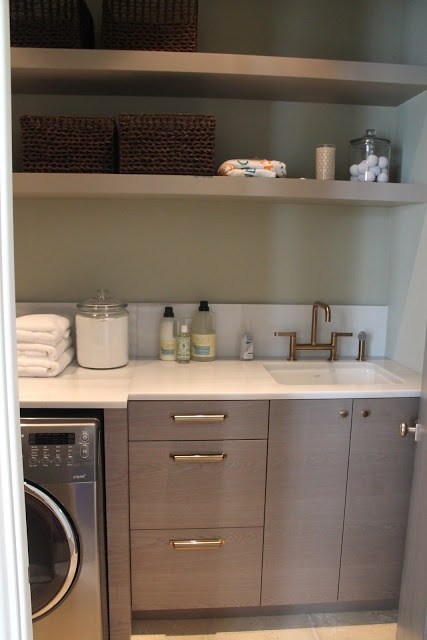 Laundry open shelving modern