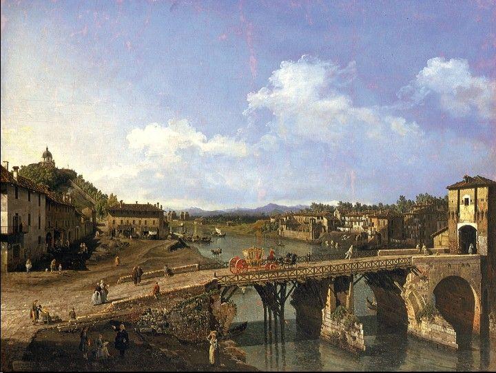 """Bernardo Bellotto, in una delle sue vedute torinesi """"Veduta del ponte sul Po"""", ritrae nel 1745 il ponte sul Po costruito tra il 1406 ed il 1411 e parzialmente distrutto dalla piena del novembre 1706, con sullo sfondo una serie di cumuli verso le Alpi."""