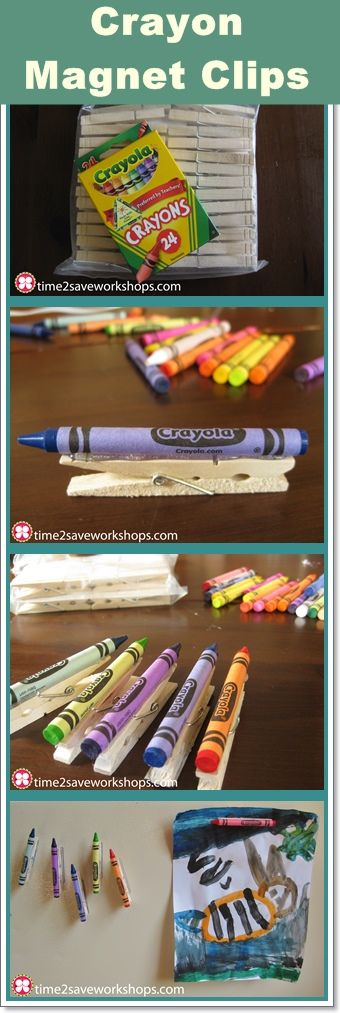 Let your preschoolers help make these DIY Crayon Magnet Clips -  great for the whole family's good papers!: Crafts Ideas, Crayons Magnets, Diy Crafts, Kids Ideas, Kids Activities, Art Clip, Crafts Diy, Diy Crayons, Magnets Art