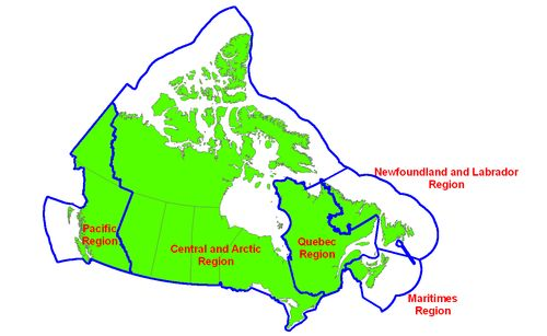 The Canadian Coast Guard (CCG) is a civilian service under the Department of Fisheries and Oceans responsible for patrolling the world's longest coastline of 243,042 km (~151,000 mi). Map showing operating regions of the Canadian Coast Guard.
