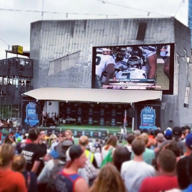 The crowds watching the #superbowl at #fedsquare #melbourne