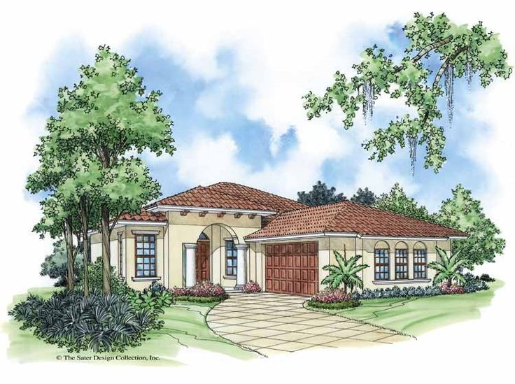 Mediterranean House Plan with 1281 Square Feet and 2 Bedrooms from