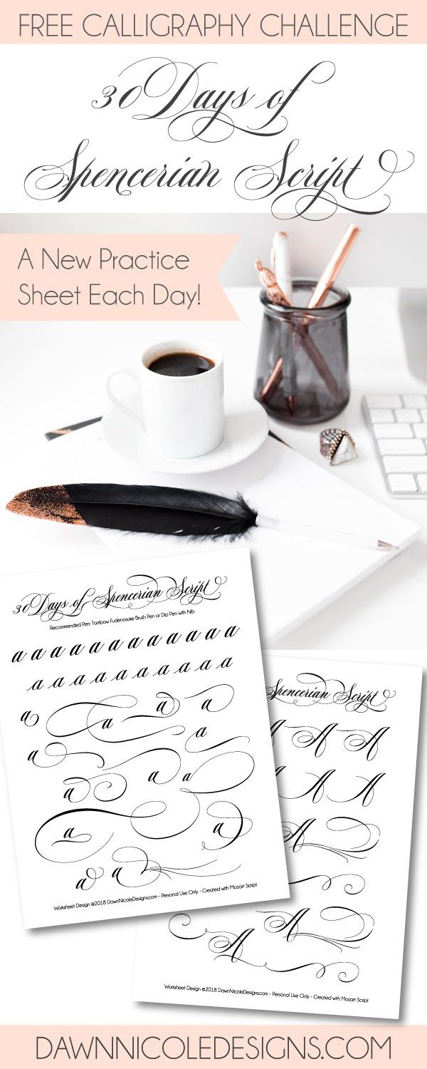 Worksheets Spencerian Penmanship Worksheets 30 days of spencerian script style worksheets dawn nicole designs practice a new free worksheet every day for thirty days
