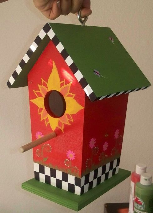 Decorative Birdhouse, Hand crafted and hand painted bird houses, Front, Home Decor Project