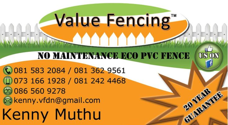 Contact Details: Kenny Value Fencing PVC Durban North, Umhlanga, La Lucia, Mount Edgecombe