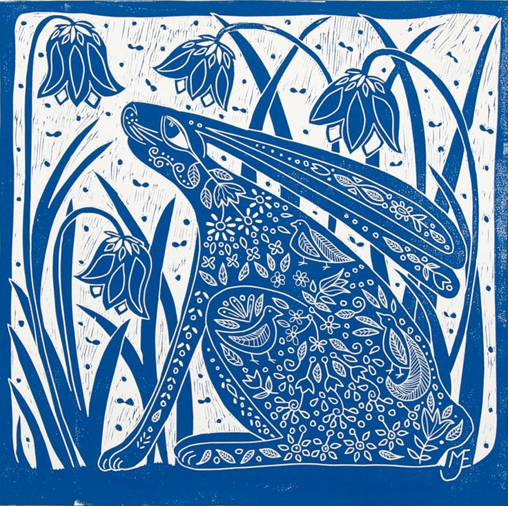 Linocut Hare and Bluebells