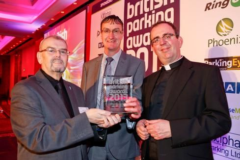 Pictured: Jeff Jones (Radflex), Wayne Perrin (Permanite Asphalt) and the Revd Richard Coles The 'green-minded' multi-storey car park for Marks & Spencer, Cheshire Oaks, was submitted to the awards by...