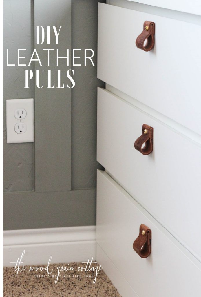 DIY Leather Pull Tutorial! Perfect for cabinets and doors! See the full step by step tutorial by The Wood Grain Cottage.