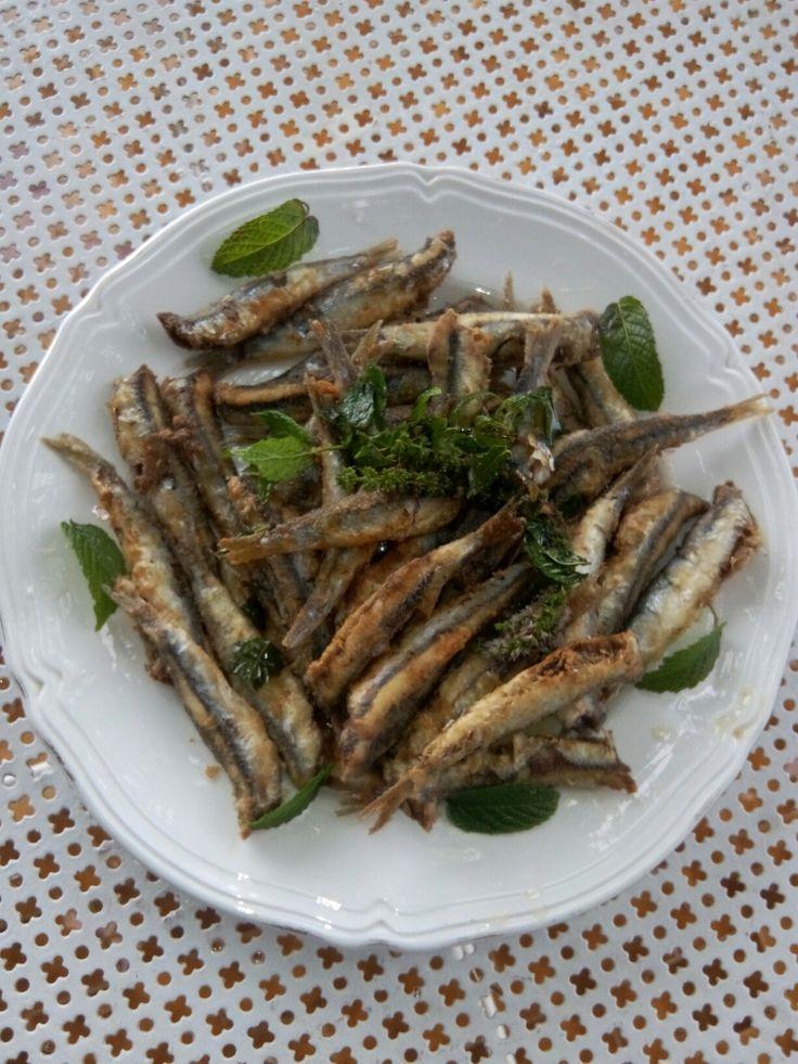 Masculini fritti con agghiata e fiori di menta ( by Carmela)
