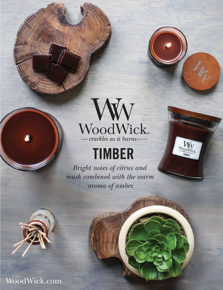 TIMBER: Bright notes of citrus and musk combined with an aroma of amber. Woodwick candles feature a natural wooden wick that crackles as it burns! #candles #woodwick #woodenwick #timber #wood #earthy