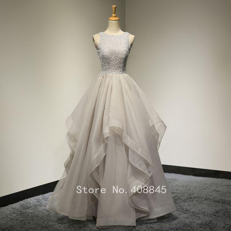 reale Abbildungen Scoop Neck Friesen Lace Rüschen Organza Grau Lange Abendkleider Hochzeit Kleid Vestido De Novia