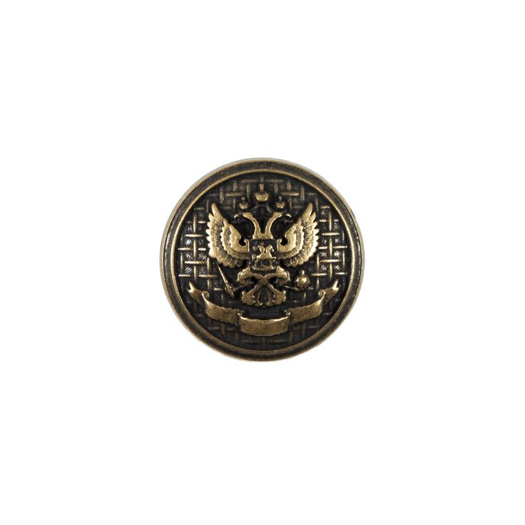 Italian Antique Gold Button with Double-Headed Eagle Emblem - 24L/15mm