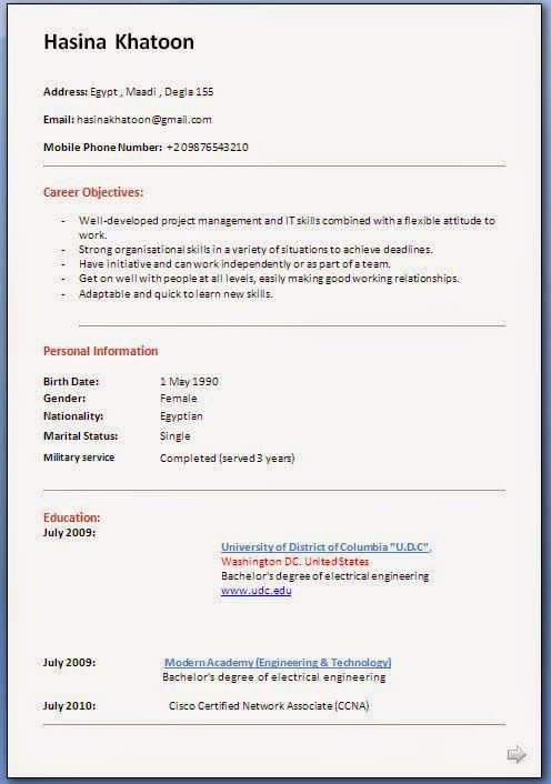 examples of student resumes Sample Template Example ofExcellent - project management career objective