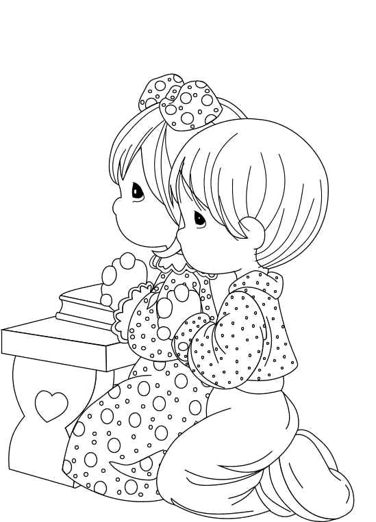 Precious Moments Bible Coloring Pages | Niños de Los Preciosos Momentos Orando para colorear
