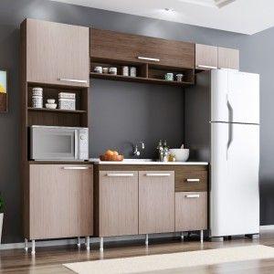 Cozinha Compacta com Balcão Itália Indekes (Não acompanha tampo) Nogal/Treviso/Nogal