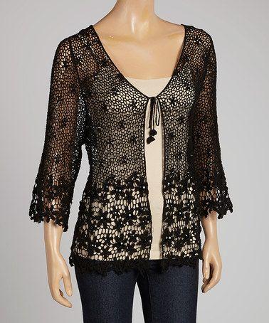 Loving this Black Crocheted Open Cardigan on #zulily! #zulilyfinds