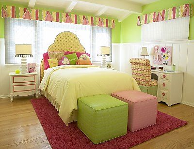 This room is very girly and is perfect for a little girl. The pastel pink and pastel lime green create a calm vibe to the room.