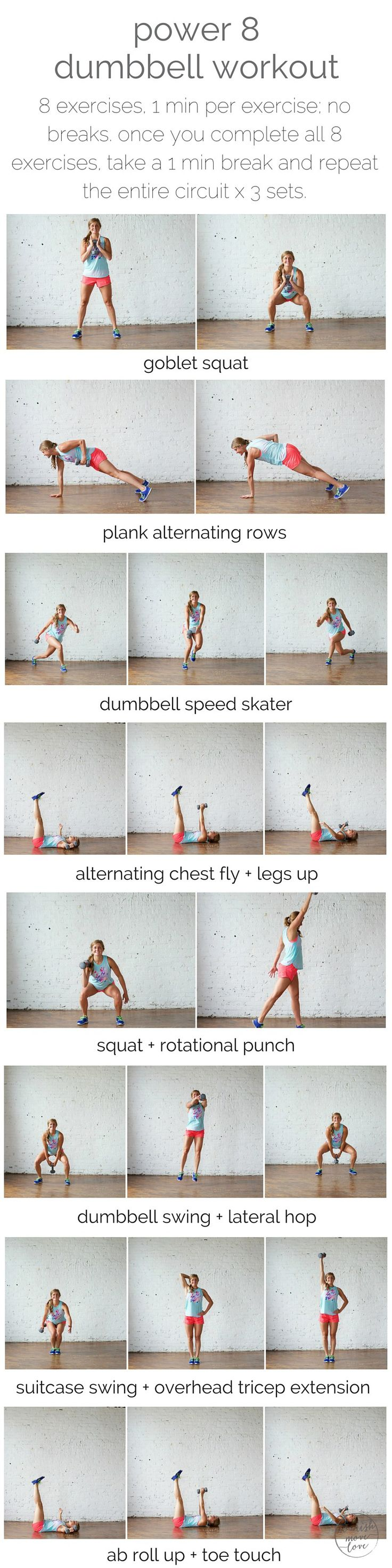 power 8 dumbbell workout | power 8 is a total body workout based of 8 extremely effective exercises that require just one dumbbell. | www.nourishmovelove.com