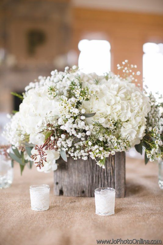 Wooden boxes, rustic, baby's breath, hydrangea, centerpiece, wedding reception, wedding day, barn wedding, wax flowers, seeded eucalyptus