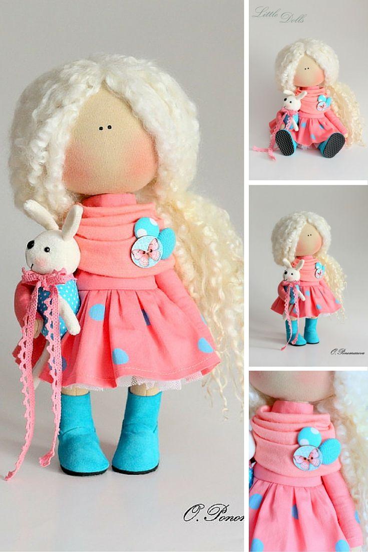 Curly doll handmade, baby doll, gift doll, tilda doll, textile doll