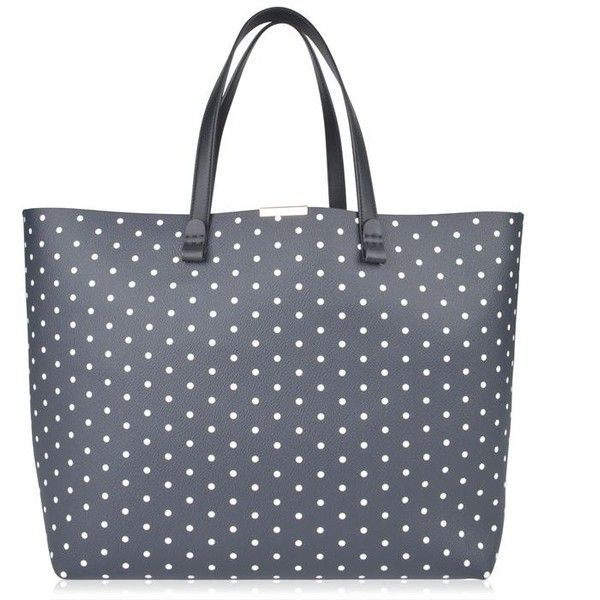 Victoria Beckham Polka Dot Shopper Tote Bag ($435) ❤ liked on Polyvore featuring bags, handbags, tote bags, navy, leather purses, leather tote shopper, leather shopper, navy blue leather purse and shopping bag