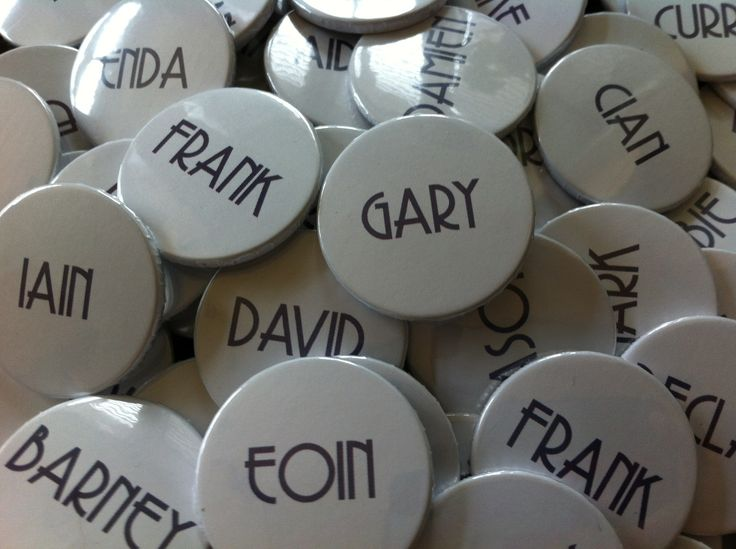 Wedding name button pin badges. Customised to your specification, various sizes available.