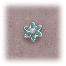 Simply Whispers hypoallergenic and nickel free Jewelry clip on Flower blue small with 2mm pearl center
