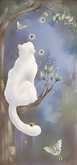 """""""He lives in the half lights in secret places, free and alone--this little great being whom his mistress calls, my cat."""" --Margaret Benson  (painting by CarrieAnn Reda)"""