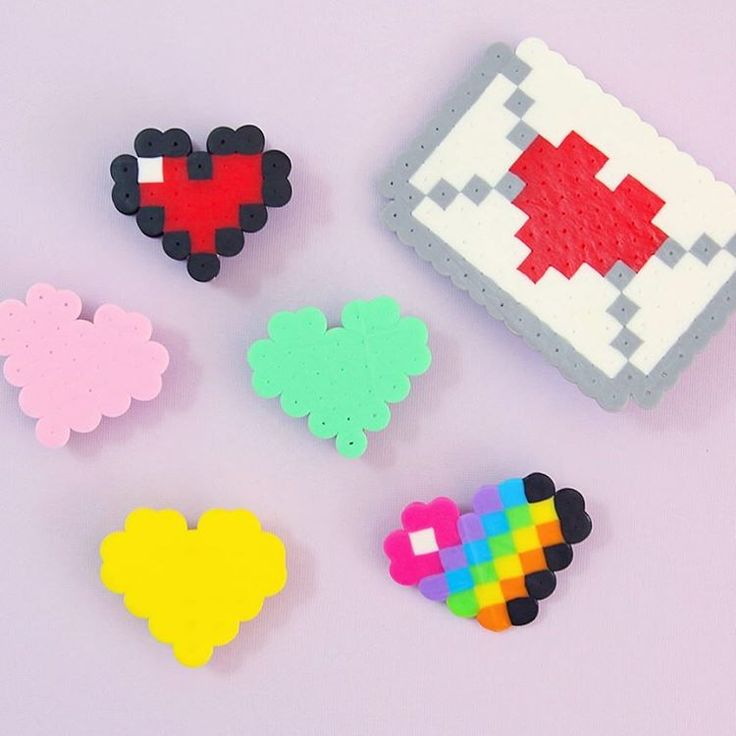 Sea Lemon DIY - Cute DIY pixel heart clips made from perler beads...