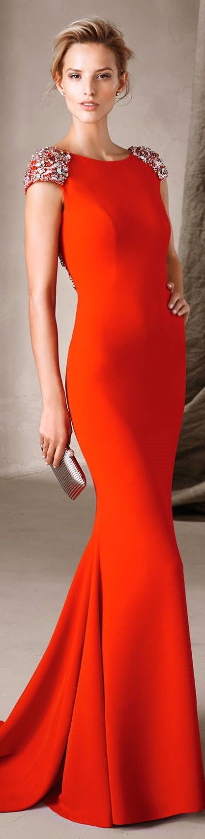 Pronovias 2017 orange dress women fashion outfit clothing style apparel @roressclothes closet ideas