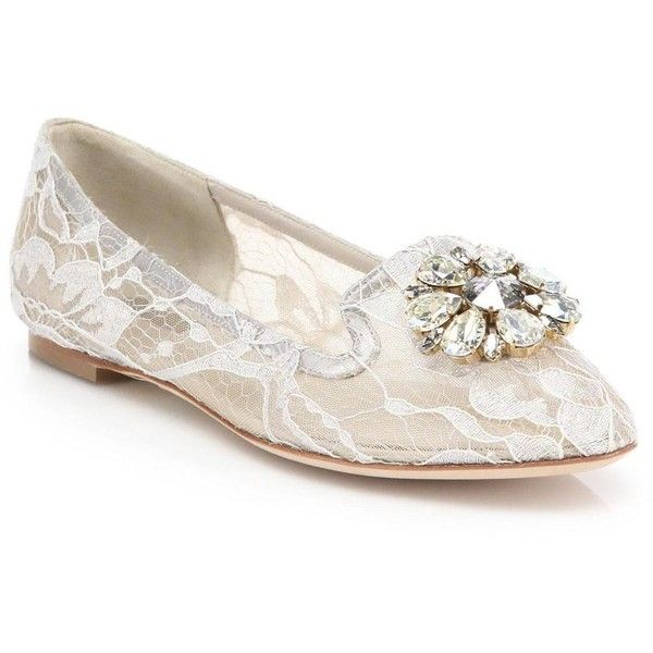 Dolce & Gabbana Women's Embellished Lace Loafers (3,105 AED) ❤ liked on Polyvore featuring shoes, loafers, white, dolce gabbana shoes, loafers moccasins, white shoes, embellished shoes and cushioned shoes