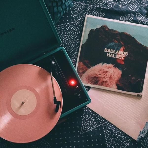 Inspo - record player and pink vinyl // Color scheme - pink and emerald green