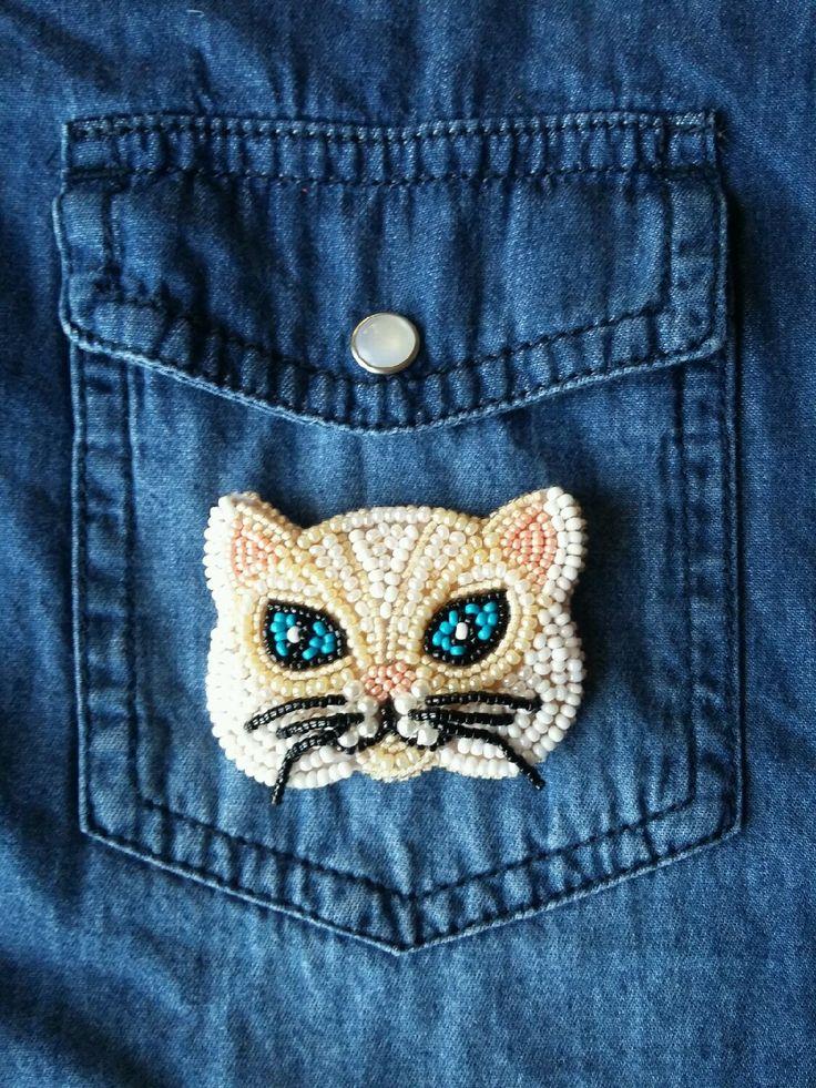 Купить Брошка-кошка - кошка, кот, котик, брошка кошка, брошь ручной работы