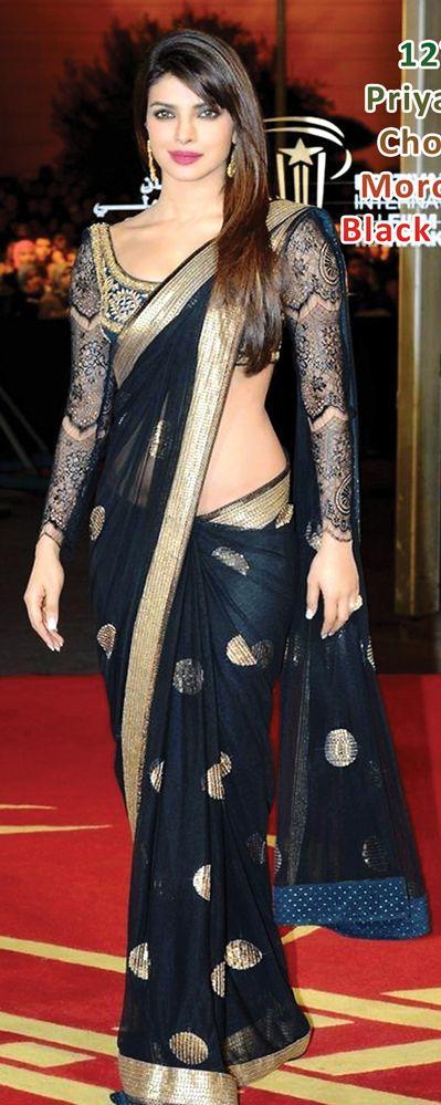$92.78 Priyanka Chopra Black Net Party Wear Saree 24181