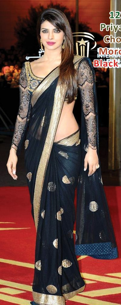 $92.78 Priyanka Chopra Black Net Party Wear Saree 24181