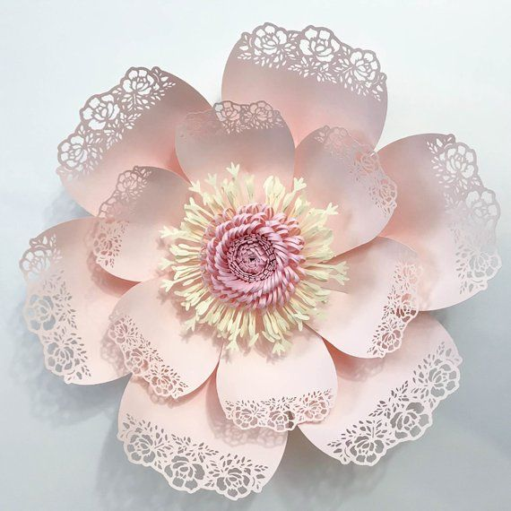 paper flowers svg lace template 5 fringe with stripe fluffy center