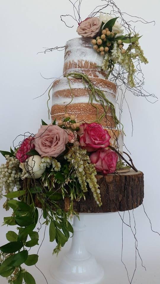 Colorful Naked Floral Wedding Cake