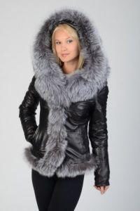 Женские кожаные куртки с мехом  2