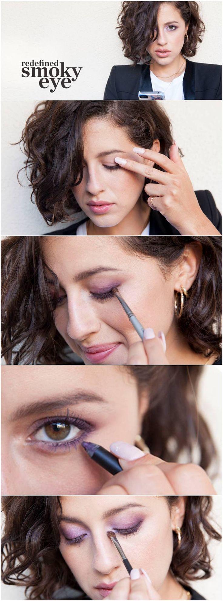 Redefined smoky eye makeup for brown eyes. Purple smoky eyeshadow