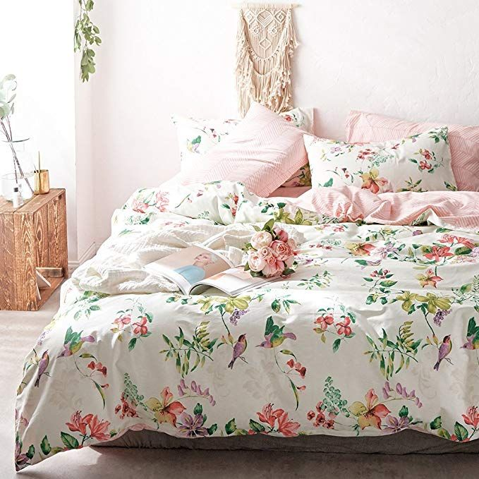 Vclife Retro Bird Floral Bedding Sets Twin Girld Coloful Flower Pattern Bedding Collections Pink Stripe Co Cheap Bedding Sets Bedding Sets Cotton Bedding Sets