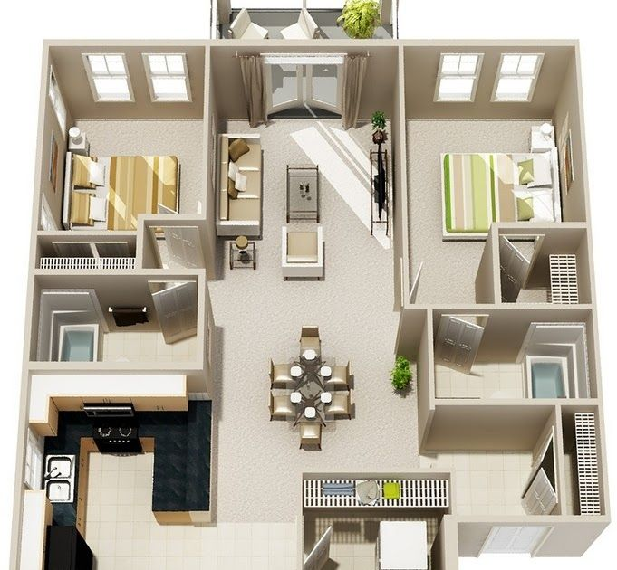 Amazing Modern 2 Bedroom Apartment Plans In 2020 Apartment