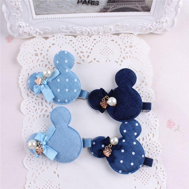 Denim punkte geschenk kinder kinder baby mädchen haarschmuck haarbänder haarnadel hund Einzelhandel großhandel Boutique tiara