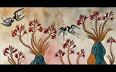 Lilies (or Spring) Fresco  MINOAN WALL PAINTING 3500 B.C.