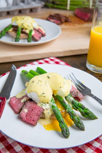 Replace butter with earth balance and everyone would love this Steak and Eggs Benedict with Asparagus in Bearnaise Sauce