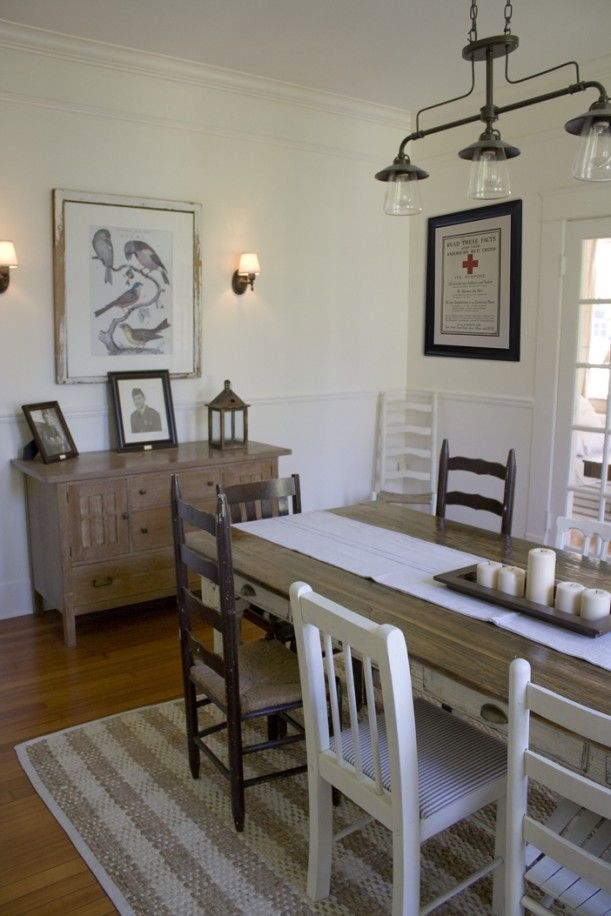 LOVE LOVE LOVE!!, the lighting, the mis-matched chairs, the chippy old table, the rug, the white, everything!